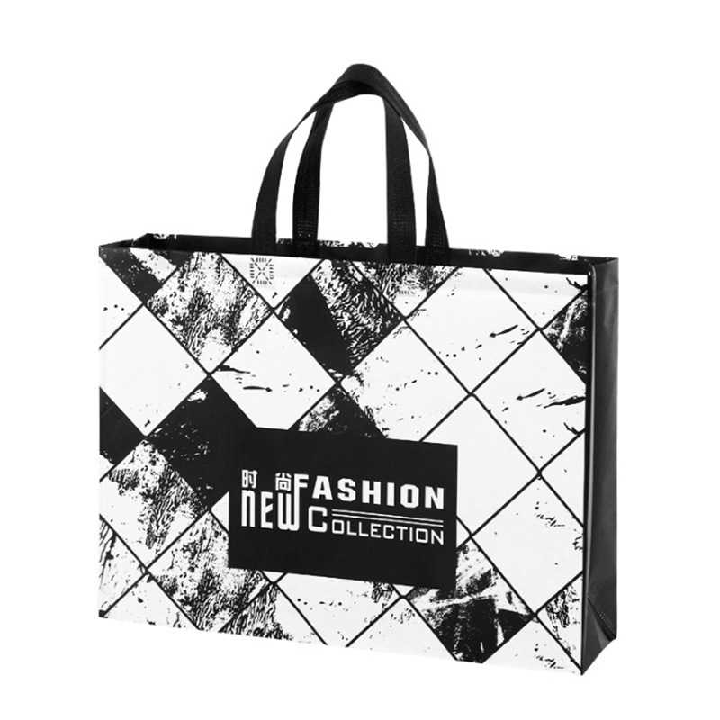 New Fashion Designs Non-woven Fabric Shopping Bag Reusable Tote Pouch Women Travel Storage Handbag Black White Grocery Eco Bag