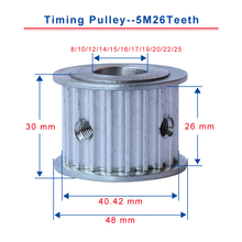 5M26Teeth timing pulley bore 8/10/12/14/15/16/17/19/20/22/25mm pulley teeth pitch 5mm slot width 26mm for width 25mm timing belt 60 40 30 20 teeth htd3m pulley wheel and closed belt 264 276 294 318 for 25mm width in a pack