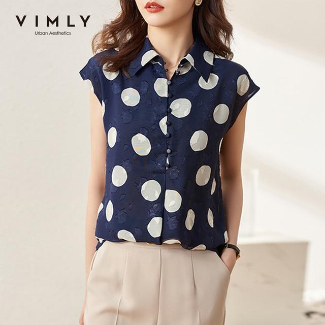 VIMLY New Summer Women Shirts Elegant Button Up Shirt Short Sleeve Casual Dot Blouse Ladies Vintage Blusas Female Tops F7502 1