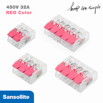 5pcs electrical lever nuts  fast compact Wire connector for 28-12 AWG cable connection transparent splicing terminal block PCT