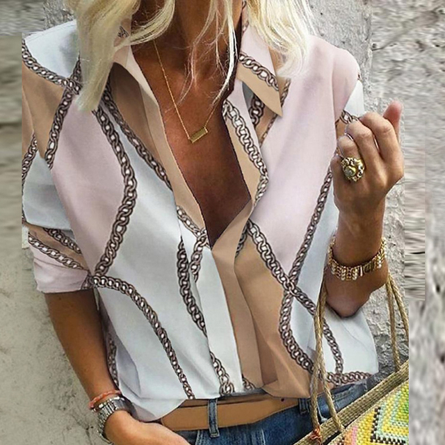 Chain Print Blouse and Shirt Women Long Sleeve Vintage Shirt Womens Tops and Blouse for Women Plus Size Top 5XL Spring 2020 3