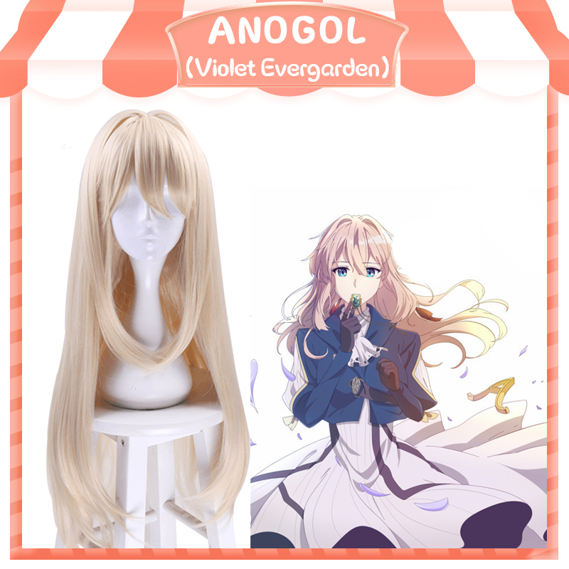 Anogol Brand New Violet Evergarden Wigs Long Wave Blonde Synthetic Hair Perucas Cosplay Wig For Halloween Costume Party+ Cap
