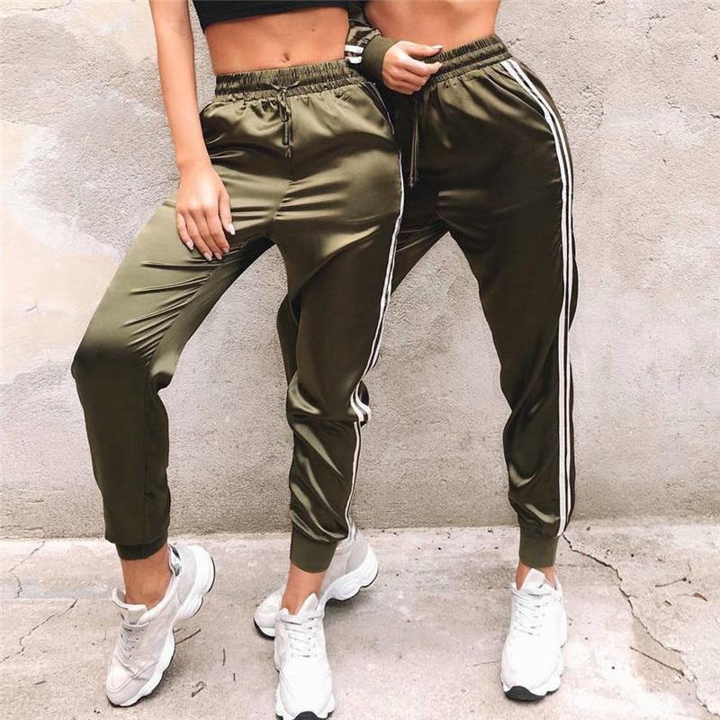High Waist Striped Pants Women Ladies Stretch Joggers Track Trousers Fitness Party Club Pantalon Femme Dames Kleding Streetwear