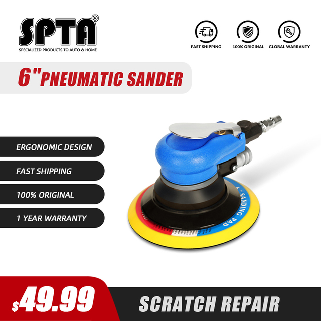 SPTA 6 Inch Disk Air Sander Dual Action Polisher Random Orbital Pneumatic Power Tools Buffing Machine for Car Metal Burnishing