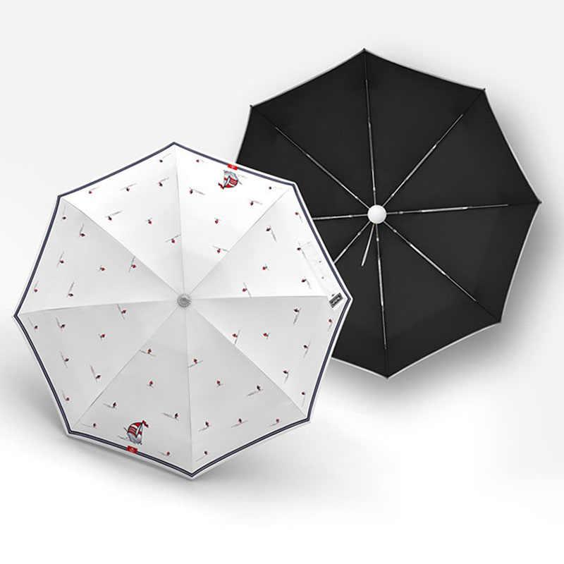 Olycat 新ミニポケット傘雨女性抗 uv サンスクリーン 5 折りたたみ傘ファッションパターン 8 リブ防風日傘