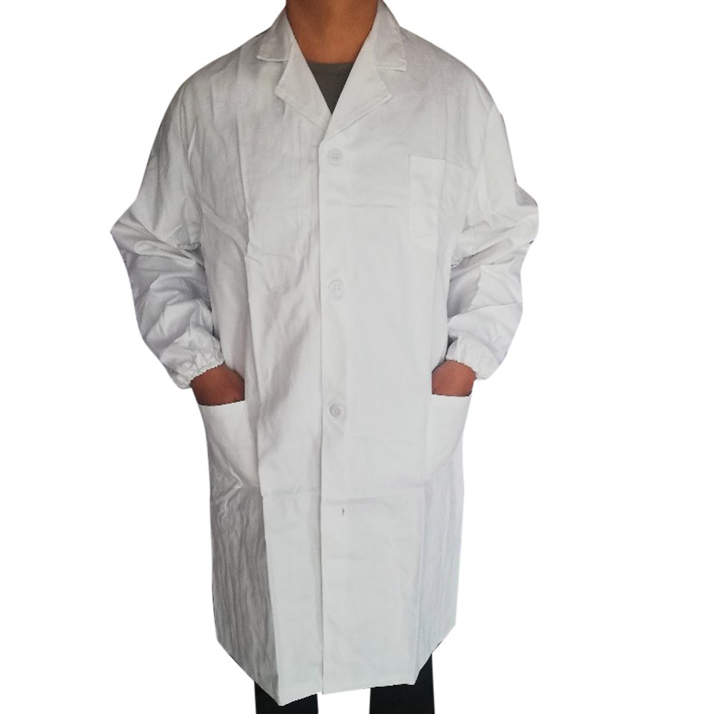 White Work Clothes Pockets Jacket Women Men Unisex Lab Coat Long Sleeve White Outwear Laboratory Doctor Jacket Outwear O04