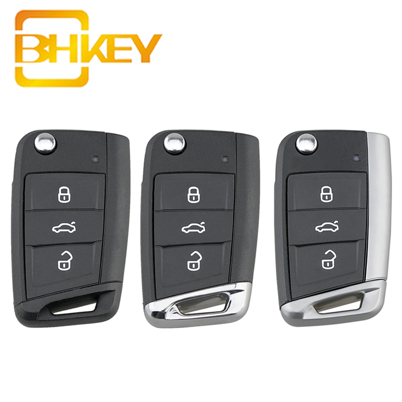 BHKEY Flip Car <font><b>Remote</b></font> <font><b>Key</b></font> Shell For Volkswagen Passat B5 VW <font><b>Golf</b></font> <font><b>7</b></font> MK7 Skoda Seat Octavia Beetle Polo Bora 3 Buttons image