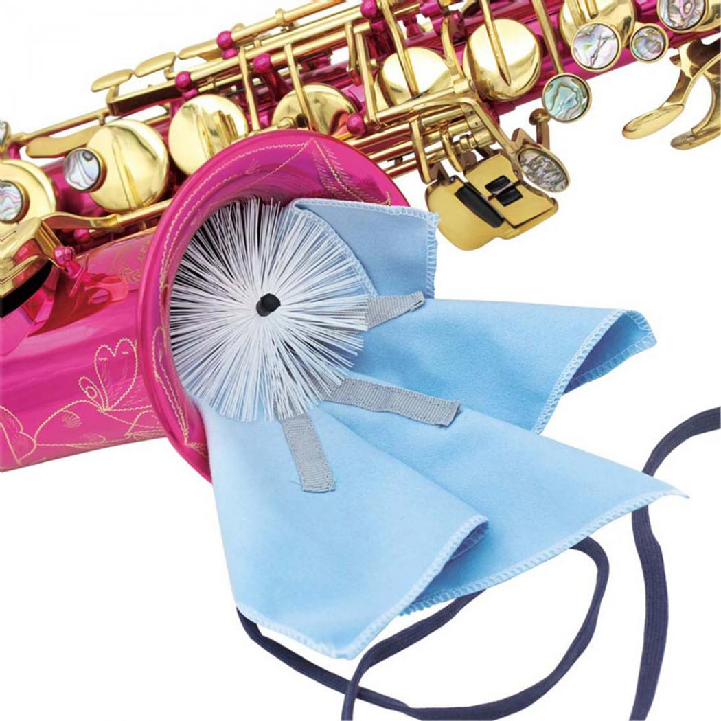 Micro Musical Products Saxophone Swab Cleaning Kit With Brush & Weighted Cord Sax Cleaning Cloth