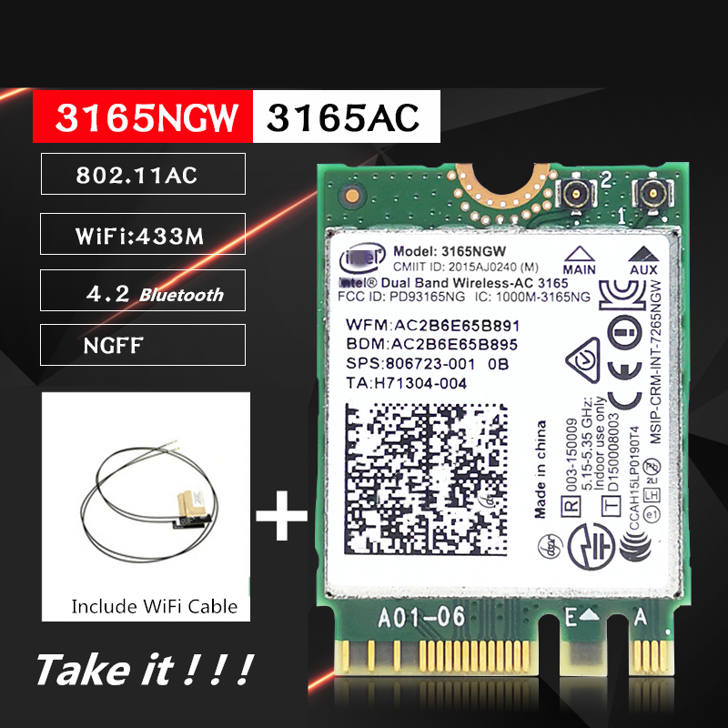 WiFi Card Wireless Network Adapter For Intel 3165NGW 3165AC