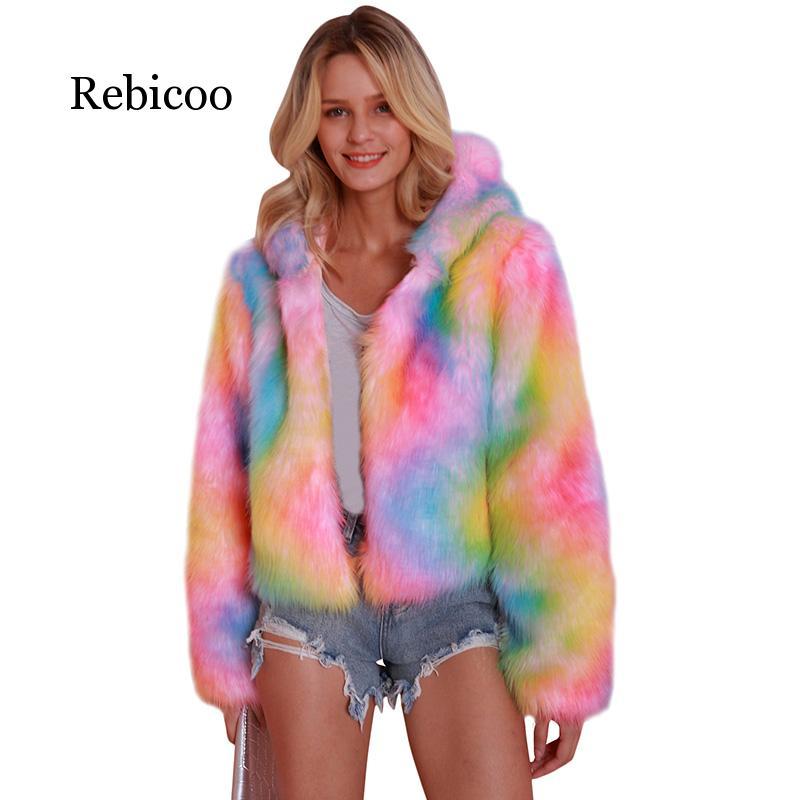 Winter Coat Rainbow Faux Fur Coat Women Fur Jacket Shaggy Fluffy Rainbow Print Hooded Long Sleeve Streetwear Plus Size 3XL