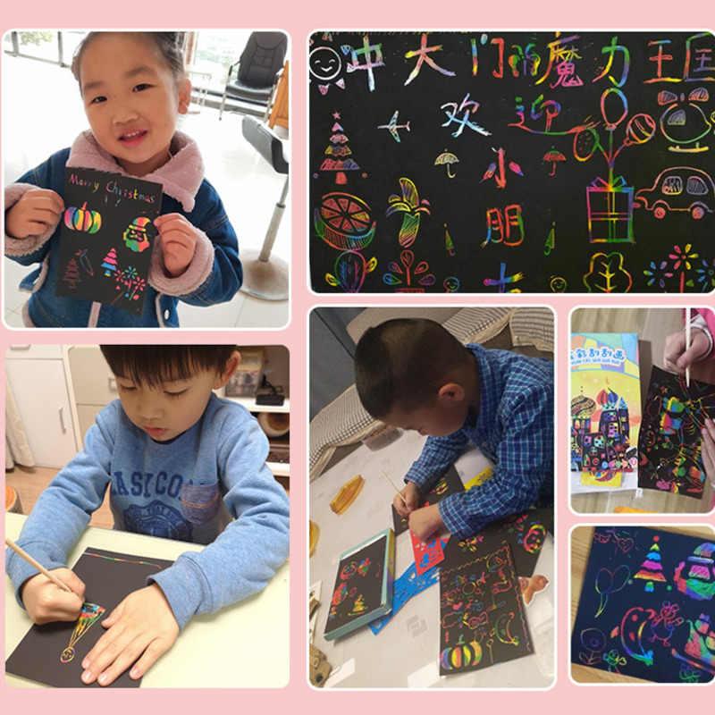 Pelangi Ajaib Awal dari dan Warna Kertas Seni Set Kartu dengan Grafiti Stensil Papan Gambar Tongkat DIY Seni Lukisan Pendidikan Mainan Hadiah