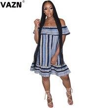 Новинка 2020, летнее соблазнительное женское платье-мини в синюю полоску VAZN с оборками, вырезом лодочкой, платье для куклы, прямое мини-платье ...