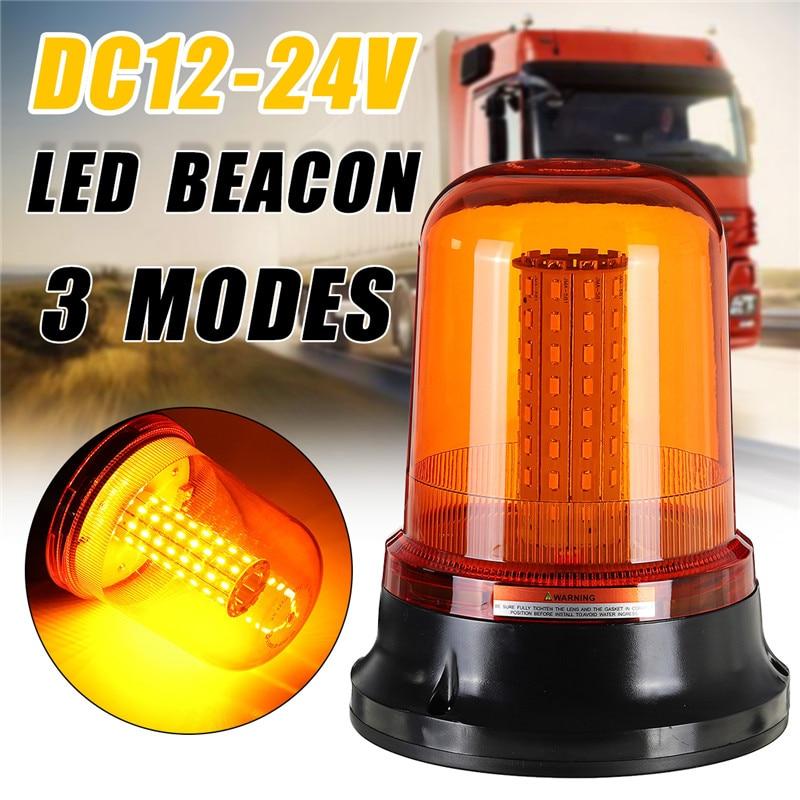 1Pcs 80LED 5730 Car LED Rotating Flashing Amber Beacon Flexible Warning Light Three Modes 12V/24V For Tractor Truck SUV Boat