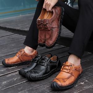 Image 5 - Nieuwe Hoge Kwaliteit Split Lederen Herenschoenen Handgemaakte Mannen Instappers Antislip Flats Comfortabele Kleding Schoenen Casual Schoenen big Size 48