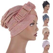 Европа и Америка мода тюрбан кепки для женщин галстук-бабочка блеск женщина голова накидки мусульманин головной платок капюшон африканка головной убор шляпа