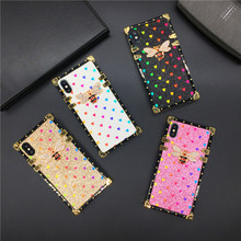 Luxury Glitter Cover Love Heart Bee Square Case for