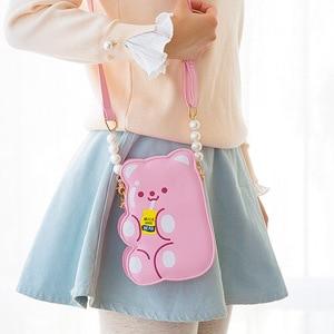 Image 2 - Bentoy PU skórzane dziewczyny Crossbody torba galaretki niedźwiedź telefon organizator torby na ramię słodkie laserowe dziewczyny uroczy prezent dla nastolatka