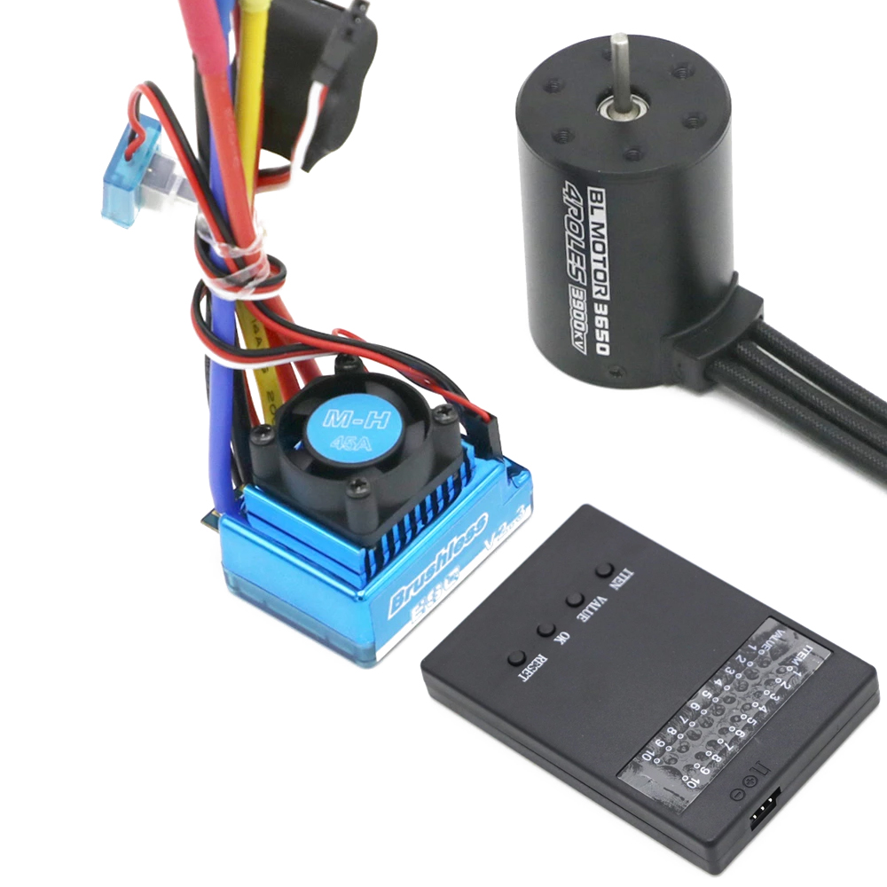 3650 3900KV Brushless Motor & Waterproof 45A/60A/80A/120A Brushless ESC & Program Card Combo for RC Car RC Boat Part