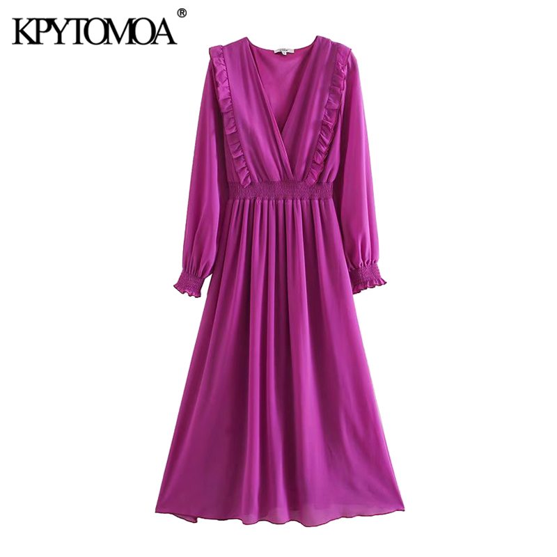 KPYTOMOA Women 2020 Chic Fashion Ruffled Pleated Midi Dress Vintage V Neck Long Sleeve Elastic Waist Female Dresses Vestidos