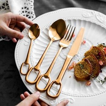 Cubiertos Rosa dorados de lujo 304, vajilla de acero inoxidable, vajilla colgante, juegos de cuchillos, tenedores, cuchara, cubiertos de comida occidental 4 Uds