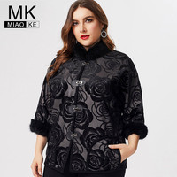 MK 2019 fall winter Plus Size Womens coats and jackets fashion ladies embroidery floral cropped jacket elegant mom streetwear