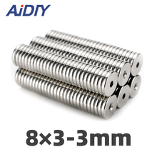 AI DIY 10/30/50 Pcs 8x3mm Hole 3mm N35 Super Strong Ring Countersunk Magnets Permanent Neodymium Mini Magnet Wholesal 8*3-3mm