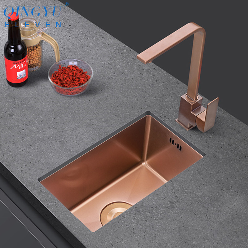 Rose Gold Kitchen Sink Nanometer Technology Gold 4mm Thickness 304 Stainless Steel Manual Sink Single Bar Counter Kitchen Sink