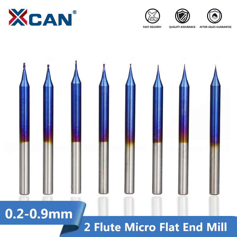 XCAN 1pc D0.2-D0.9mm Micro Flat End Mill Tungsten Carbide 2 Flutes CNC Router Bit Nano Blue Coated Micro End Milling Cutter