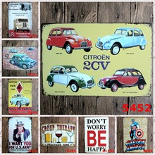 "Vintage Metalen Schilderij ""Poëzie Bier Cartoon Auto"" Tin Borden Muur Schilderen Art Muurstickers Ambachten Cafe Bar Bar home Decoratie(China)"