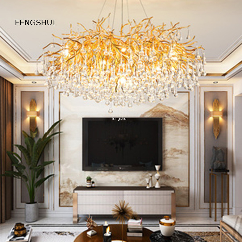 American Light Luxury Crystal Pendant Lights Creative Led Branches Living Dining Room French Hanging Lamp Villa Decor Luminaries