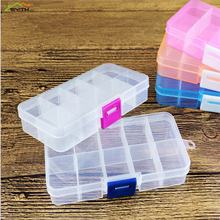Practical jewelry storage adjustable green plastic compartment box earrings small pieces five colors