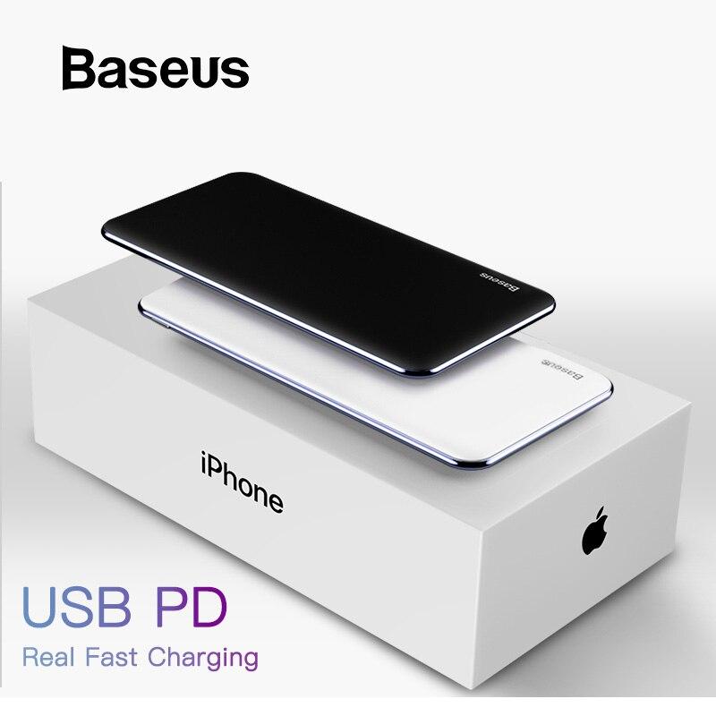 BASEUS บาง Power Bank 10000mAh Type C PD ชาร์จสำหรับ iPhone 11 PRO MAX แบตเตอรี่แบบพกพาภายนอก Powerbank charger Pack