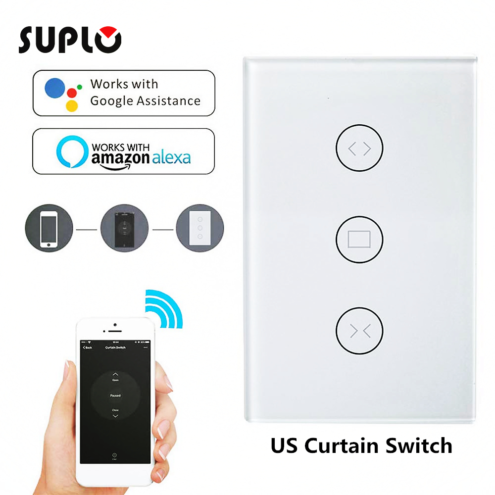 SUPLO WiFi Curtain Wall Switch Shutter, Blind, Slide Curtain Remote Control For Smart Home Curtain System (Curtain Switch)