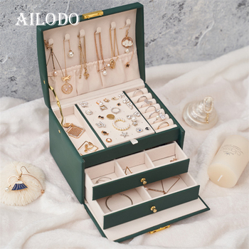 Ailodo Three Layers Big Jewelry Box For Women High Capacity Necklace Earrings Rings Bracelets Storage Travel Case