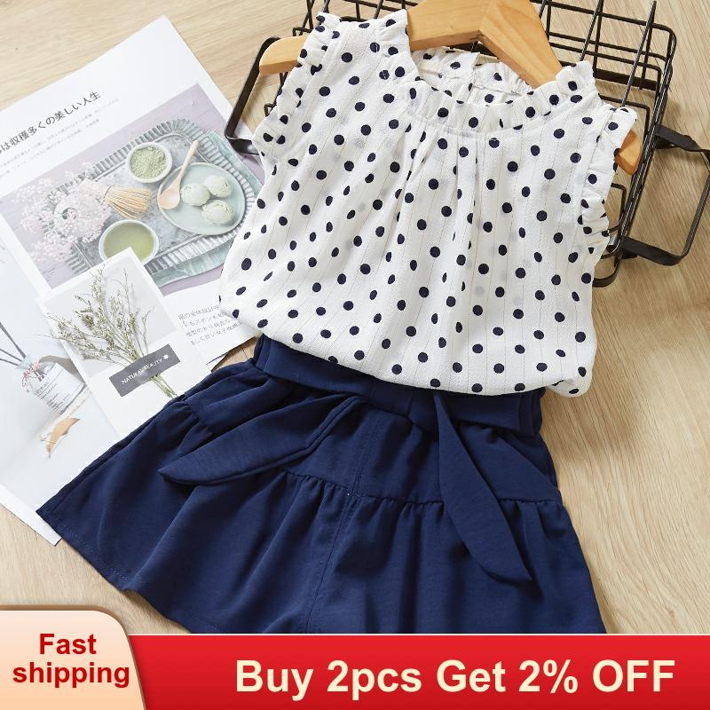 Baby girl clothes New Summer Korean Sets Kids Clothes polka dot Printed T-Shirt+Pants 2Pcs Suit For 2-6 Years Girls Clothing