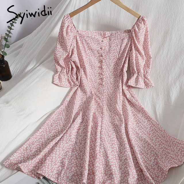 Syiwidii Floral Print High Waist Dresses Women Breasted Puff Sleeve Square Collar Zipper A-line Clothing 2021 Summer Fashion New 1