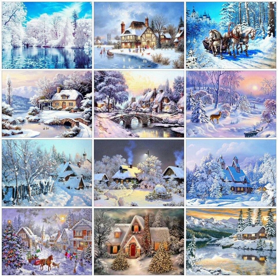 AZQSD алмазная вышивка распродажа крестом пейзаж полный квадратный алмаз вышивка продажа зима 5D DIY Алмазная мозаика рукоделие снег