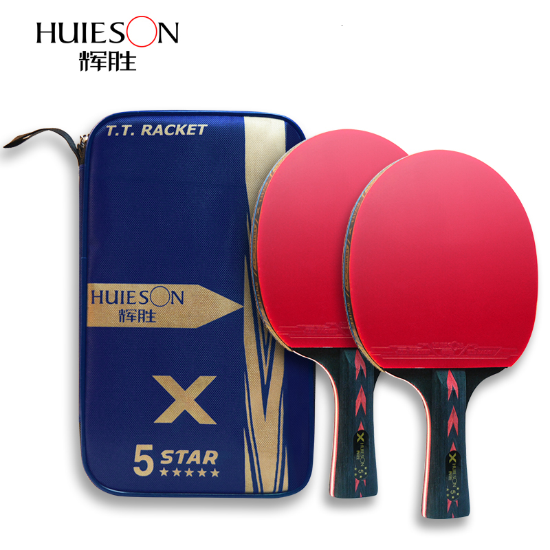 Huieson 2Pcs Carbon Table Tennis Racket Set 5/6Star New Upgraded Ping Pong Racket Bat Wenge Wood & Carbon Fiber Blade With Cover