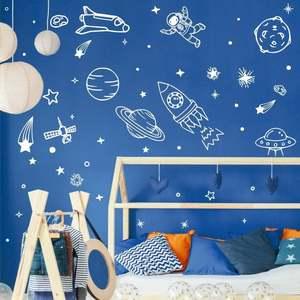 DIY космическая Наклейка на стену для детей спальня Космос наклейки планеты Земля ракета фрески постер на космическую тематику наклейки мал...