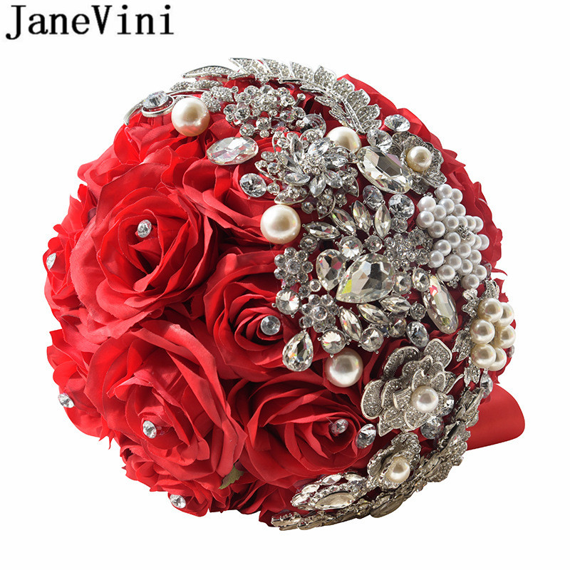 JaneVini Luxury Crystal Bridal Jewelerry Beaded Pearls Silk Rose Artificial Flowers Wedding Bouquet Red Purple Bride Hand Flower