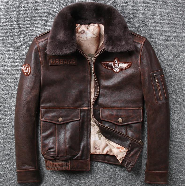 H09ecd964985e47b0ae0a95d00a9dccacz 2019 Vintage Men's G1 Air Force Pilot Jackets Genuine Leather Cowhide Jacket Plus Size 5XL Fur Collar Winter Coat for Male