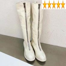 Długie damskie z przodu ręcznie robione na zamek gruby obcas rycerz zimowe oryginalne skórzane buty damskie na co dzień buty do kolan białe tanie tanio SICCSAEE CS (pochodzenie) Prawdziwej skóry Podkolanówki zipper Stałe Plac heel Podstawowe Skóra bydlęca Okrągły nosek