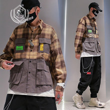 Männer Mode Lose Plaid Drucken Casual Safari Stil Taschen Patchwork Hip Hop Shirts(China)