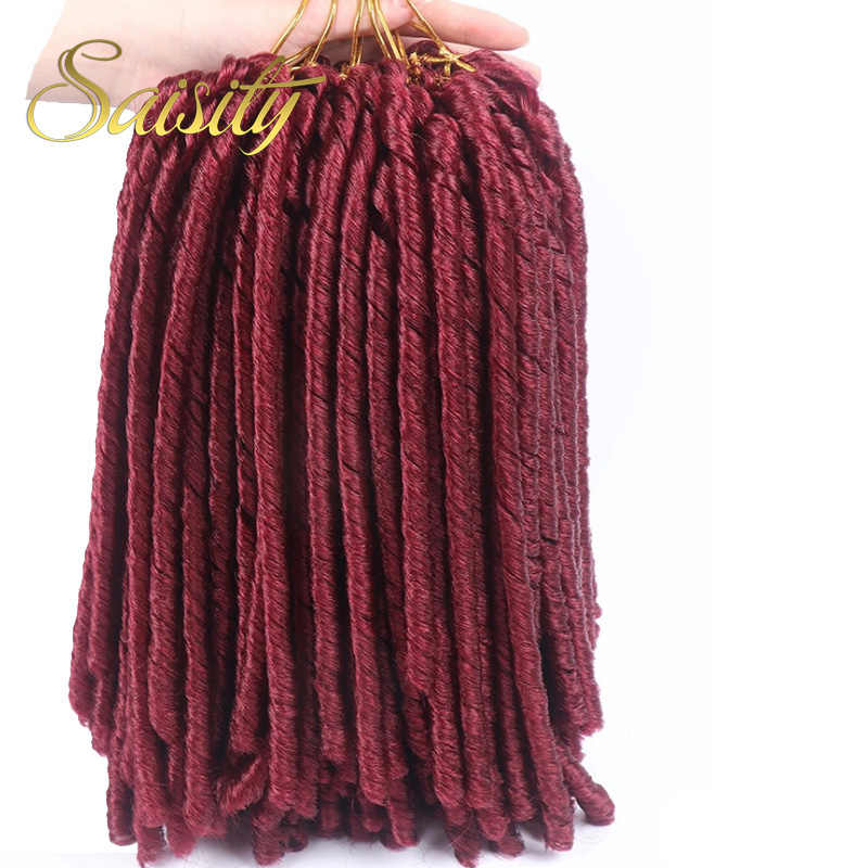 Saisity 14'faux locs crochet pelo suave y luz dreadlocks crochet trenzas sintéticas extensiones de cabello de ganchillo 15 hebras/paquete