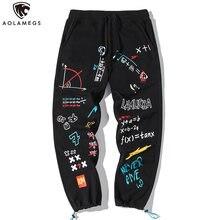 Aolamegs брюки для мужчин в стиле хип хоп с милым буквенным
