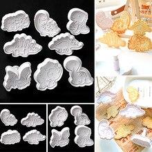 4 pçs cortador de atuador de biscoito de dinossauro dos desenhos animados molde de cozimento biscoito selo diy molde fondant bolo ferramentas de decoração