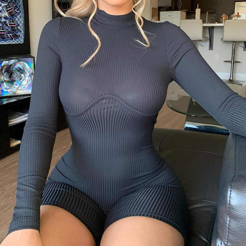 Balıkçı yaka örgü kaburga Rompers bayan tulum sportif uzun kollu spor fermuar beyaz siyah Biker şort Bodycon tulum tulum