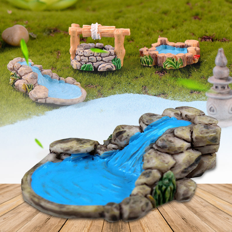 Figurines Garden Miniature Bonsai Toys Resin Crafts Mini Courtyard Pond Tower DIY Lawn Landscape Decor Retro