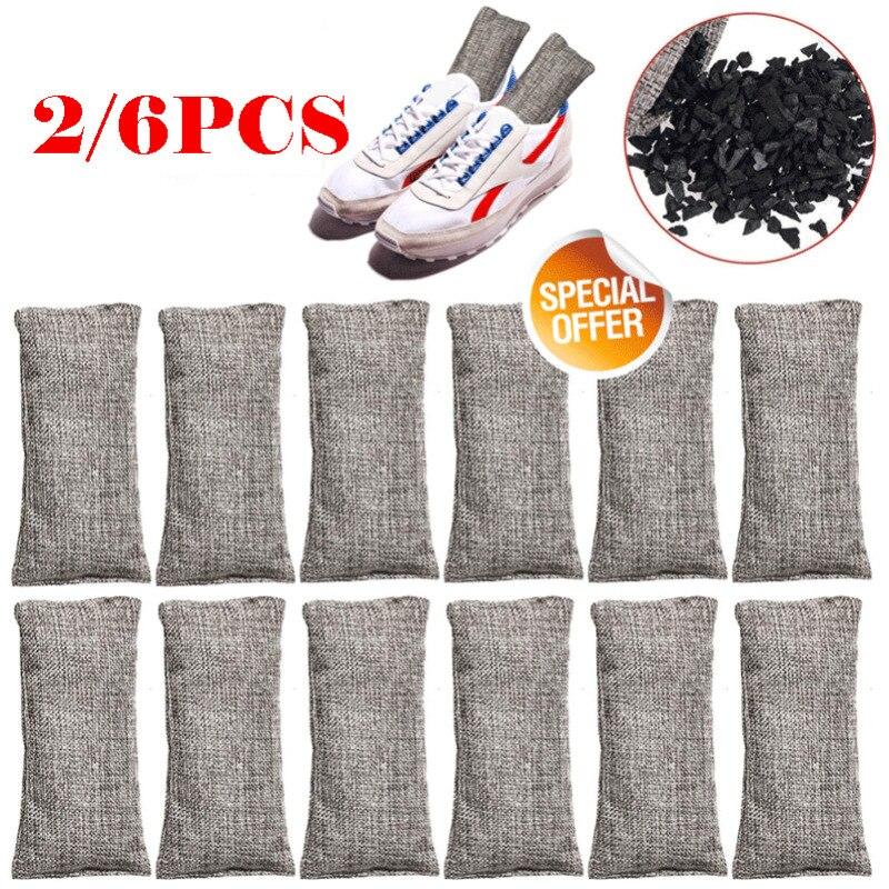 Bamboo Charcoal Air Purifying Bags Nature Fresh Odor Freshener Purifier Bag 6PCS