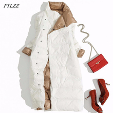 FTLZZ Plus Size 3XL Women Double Sided Down Long Jacket Whit